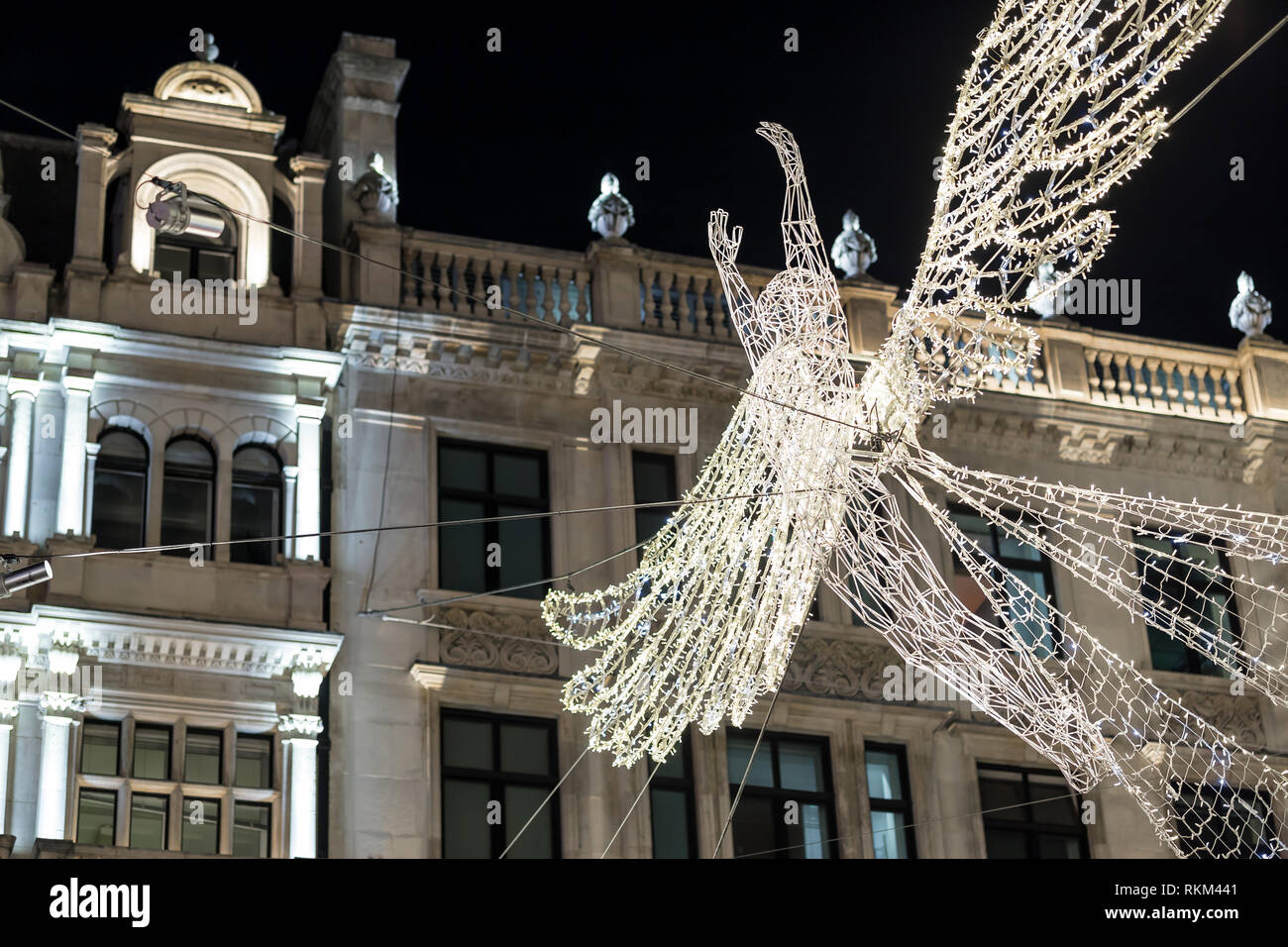 Regents street decorated for 2017 Christmas, London Stock Photo