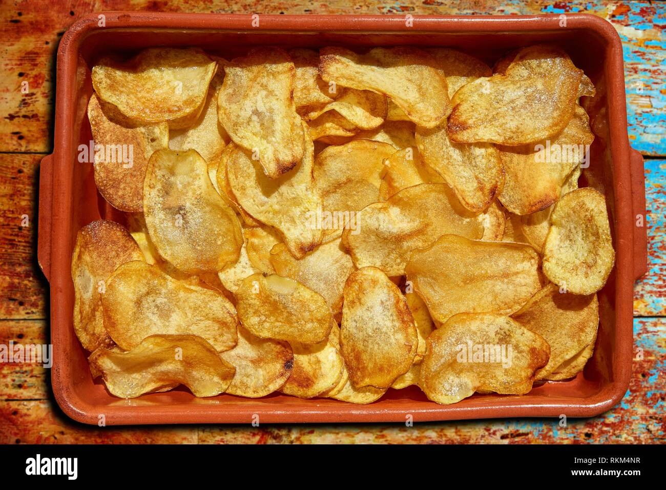 Homemade Fried Potatoes Sliced Chips In A Clay Pot Stock Photo Alamy