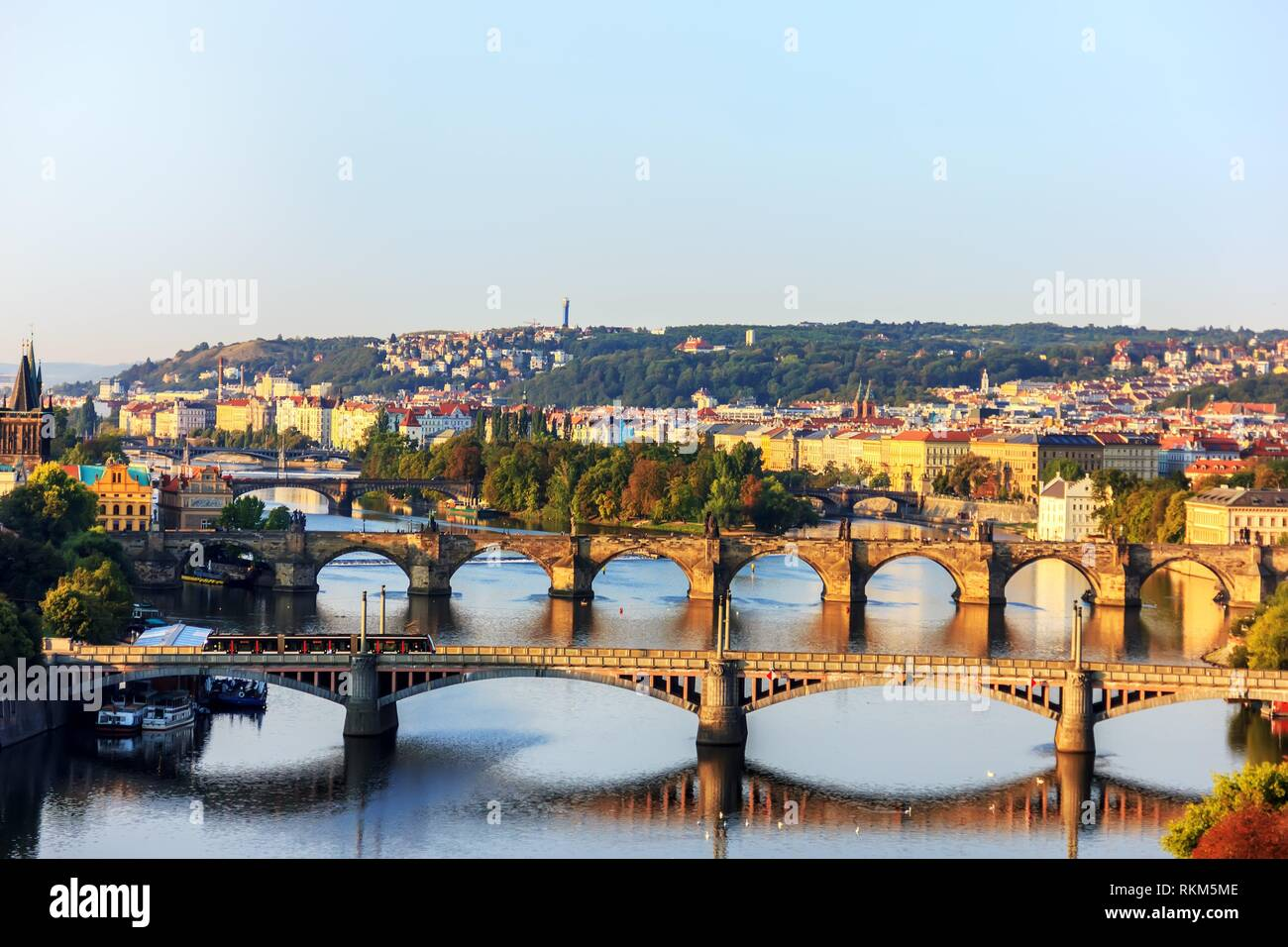 Charles Bridge over the Vltava and other bridges view on the Lesser Town from Prague Metronome. - Stock Image