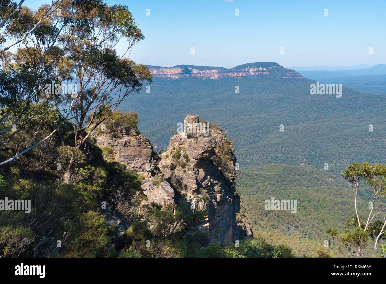 View over Jamison Valley and Three Sisters rock formation in Katoomba, Blue Mountains, New South Wales, Australia. Stock Photo