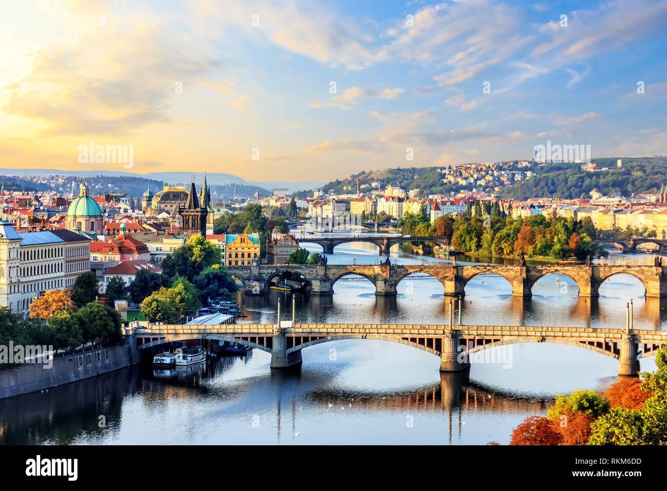Bridges of Prague at sunrise, view from Prague Metronome. - Stock Image