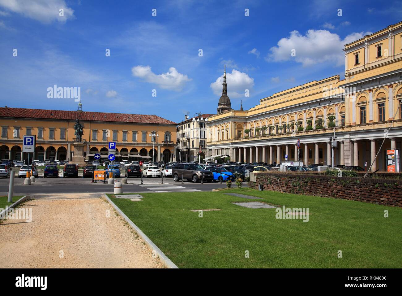 Piazza Martiri della Libertá with the Coccia theater. Novara. Italy. - Stock Image