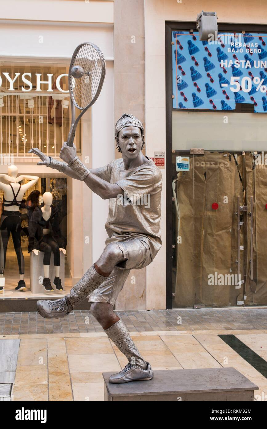 A mime on Calle Larios in Malaga, Spain. Stock Photo