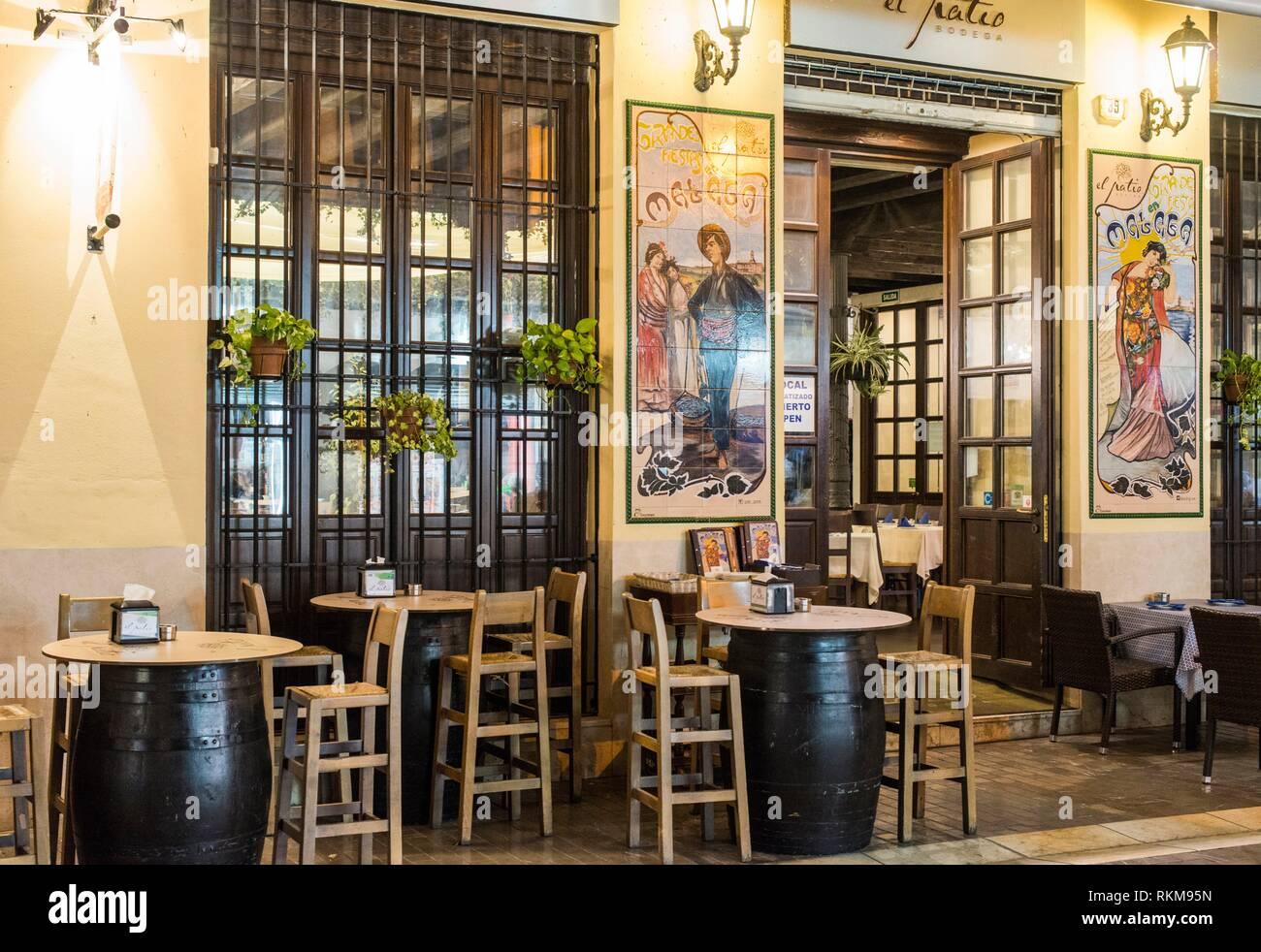 Tavern Malaga Spain Stock Photo Alamy