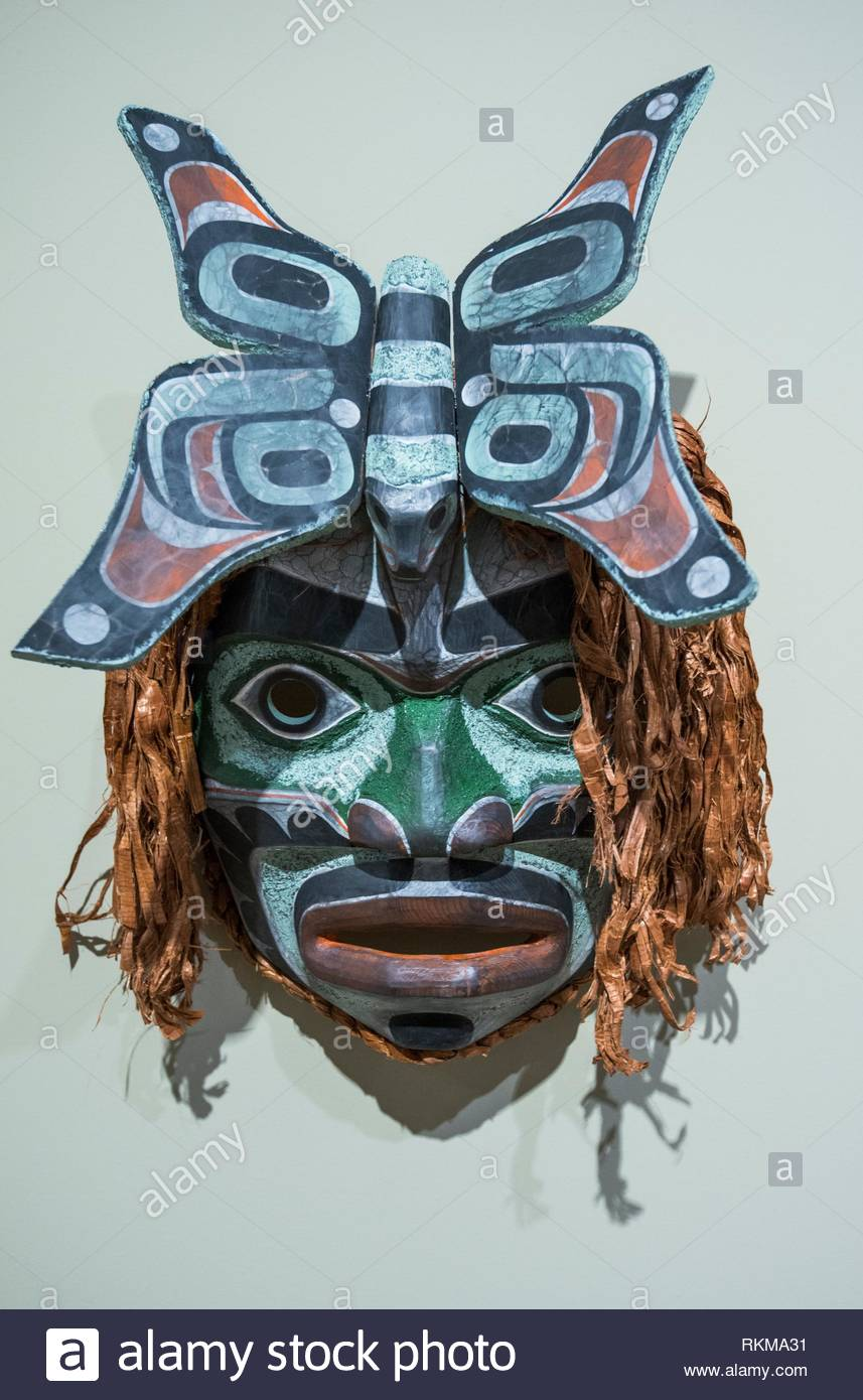 Noomis and the Butterfly, mask art by Cole Speck, West coast First Nations art at the Audain Art Museum in Whistler, BC, Canada. - Stock Image