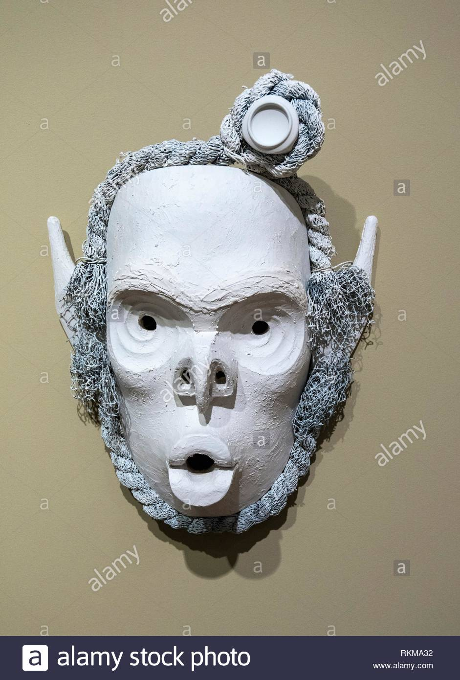 Pookmis Mask, by artist Cole Speck, West coast First Nations art at the Audain Art Museum in Whistler, BC, Canada. - Stock Image