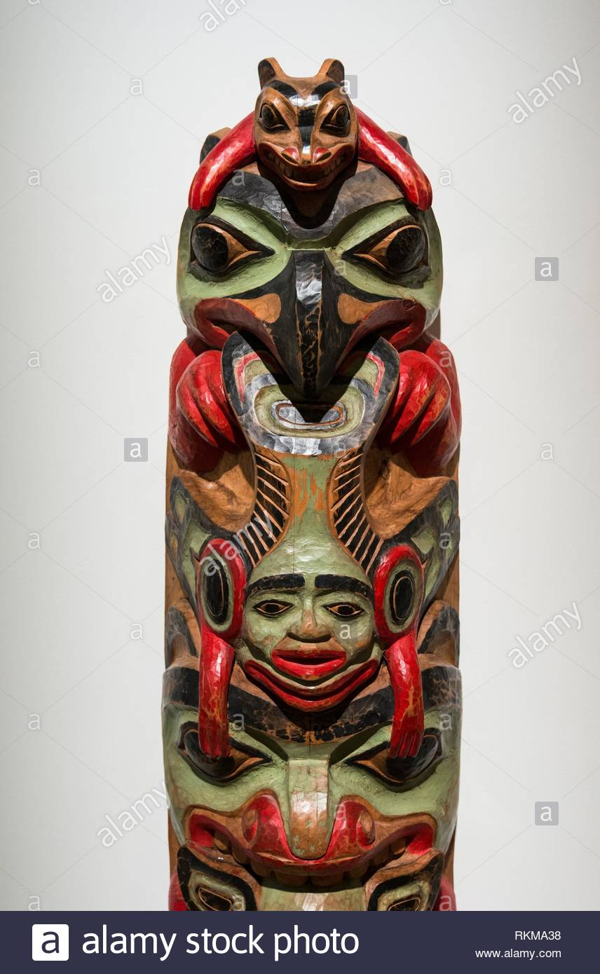 Totem Pole, Haida Style, West coast First Nations art at the Audain Art Museum in Whistler, BC, Canada. - Stock Image