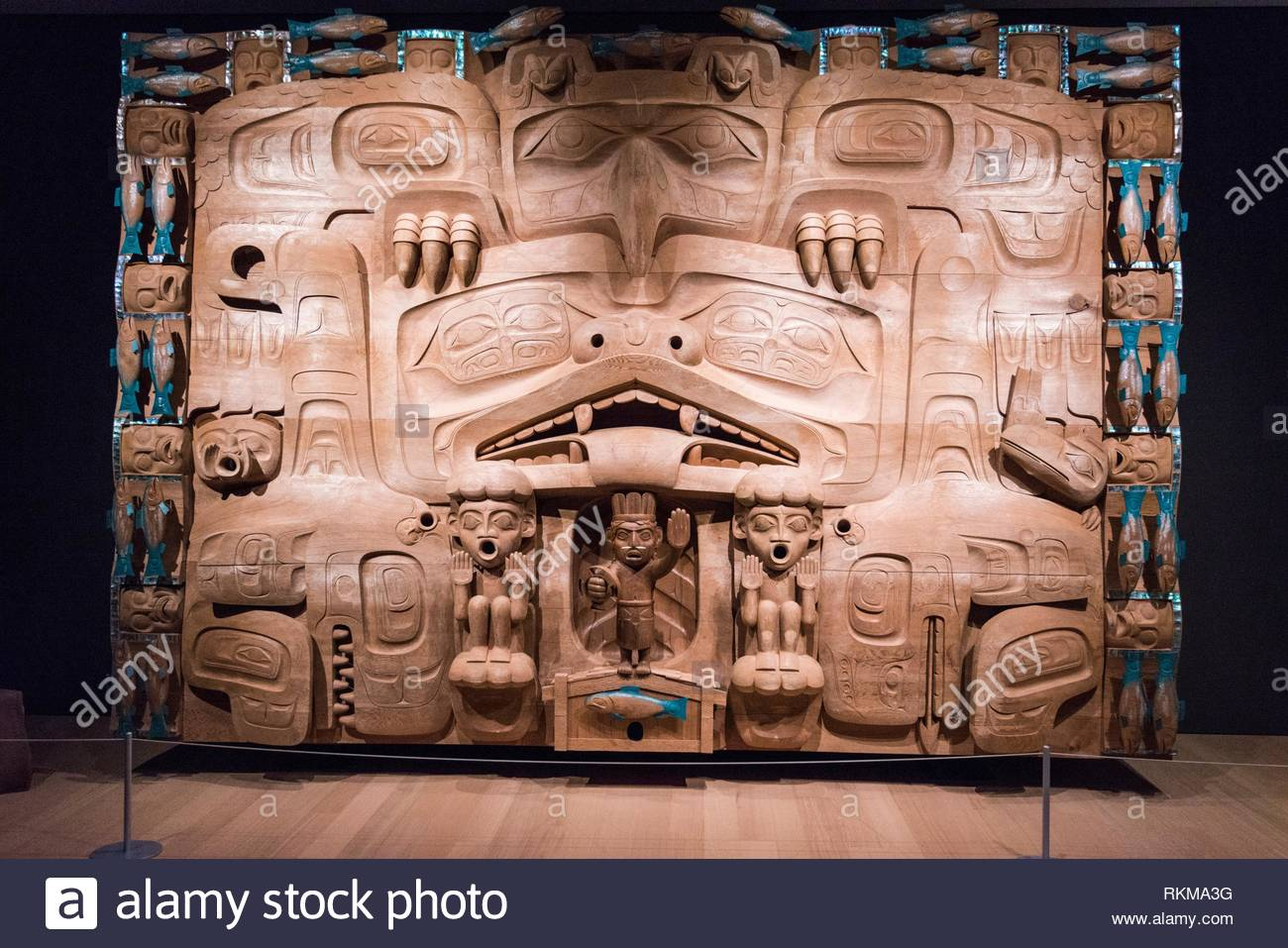 The Dance Screen by James Hart, West coast First Nations art at the Audain Art Museum in Whistler, BC, Canada. - Stock Image