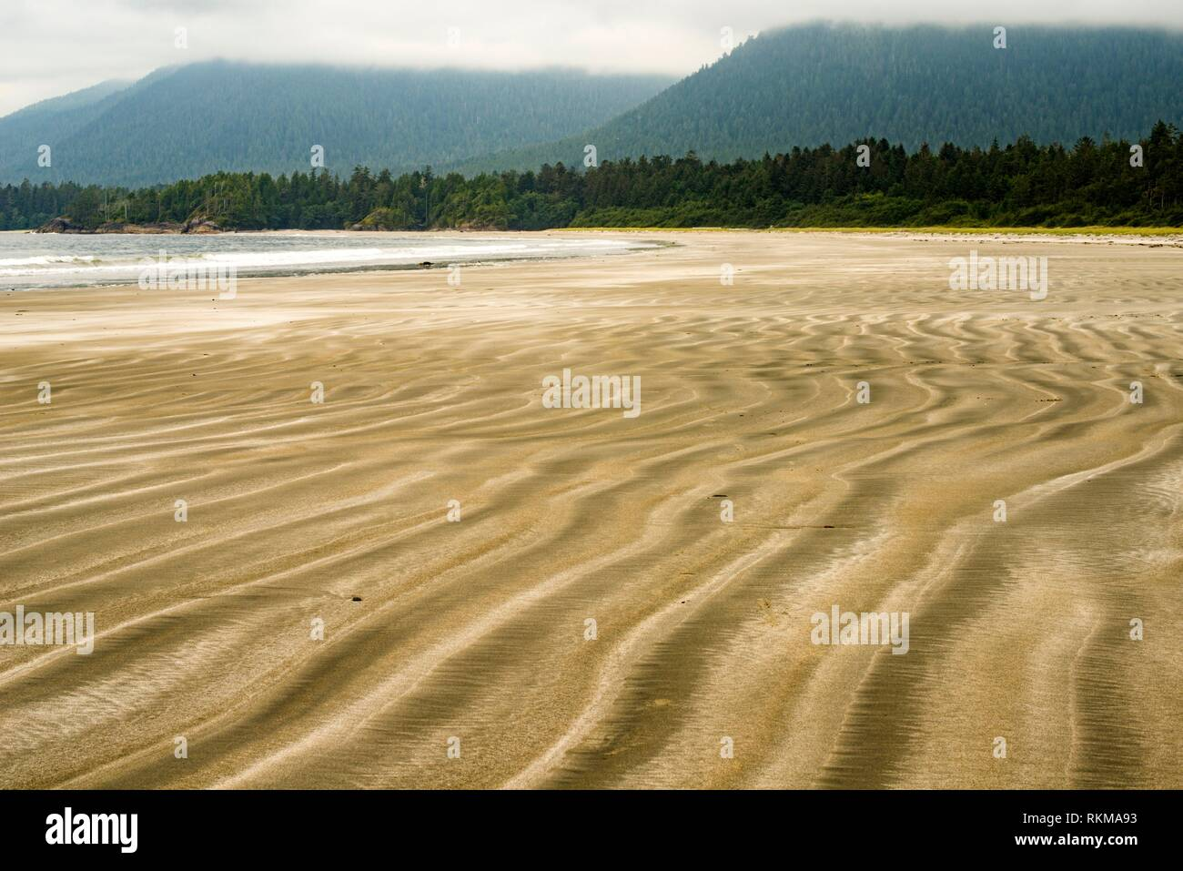 Beach on Flores Island, off the west coast of Vancouver Island, British Columbia, Canada. Stock Photo