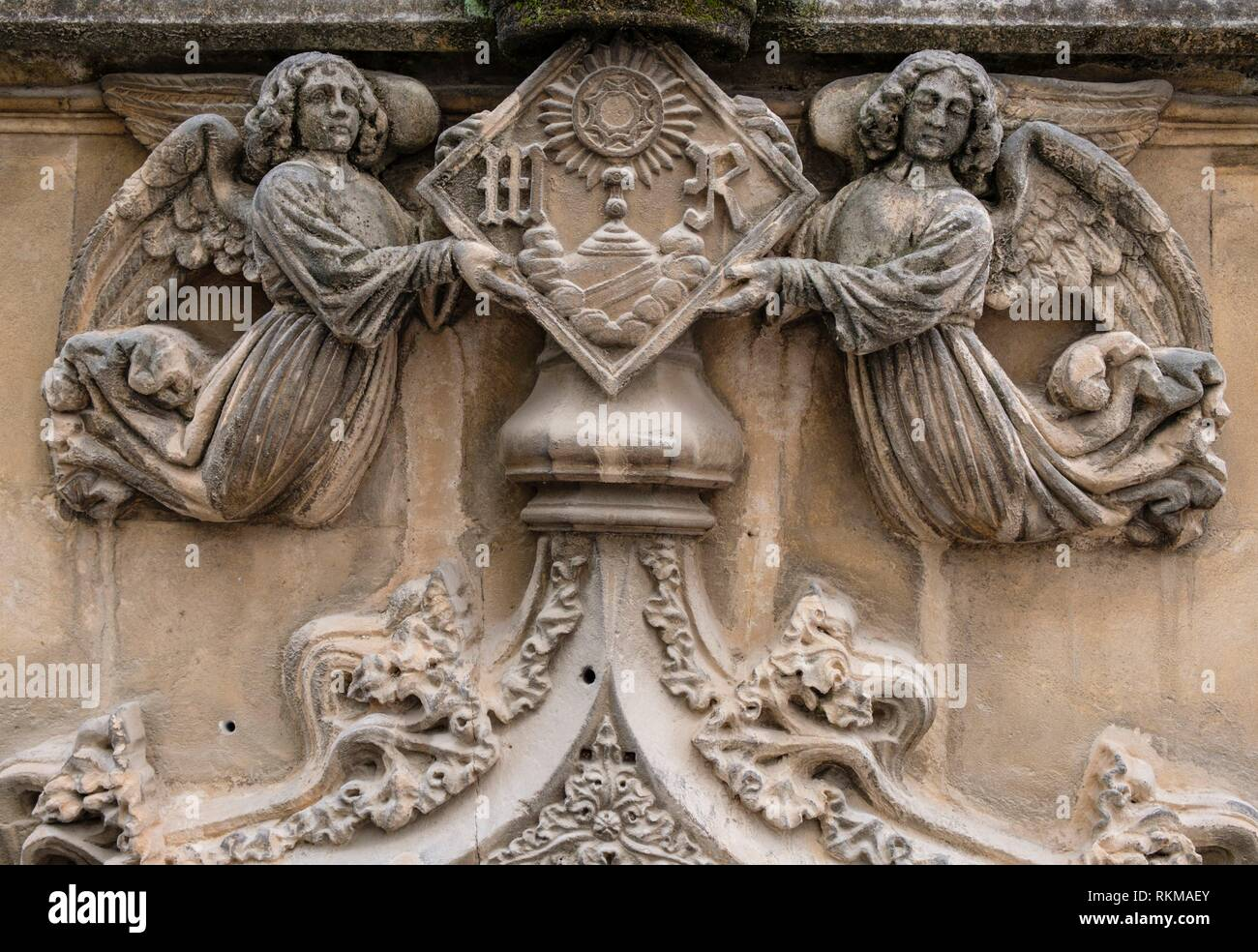 relieves de la Reial academia de belles Arts, Carrer de la Rosa, 3, Palma, Mallorca, balearic islands, Spain. - Stock Image
