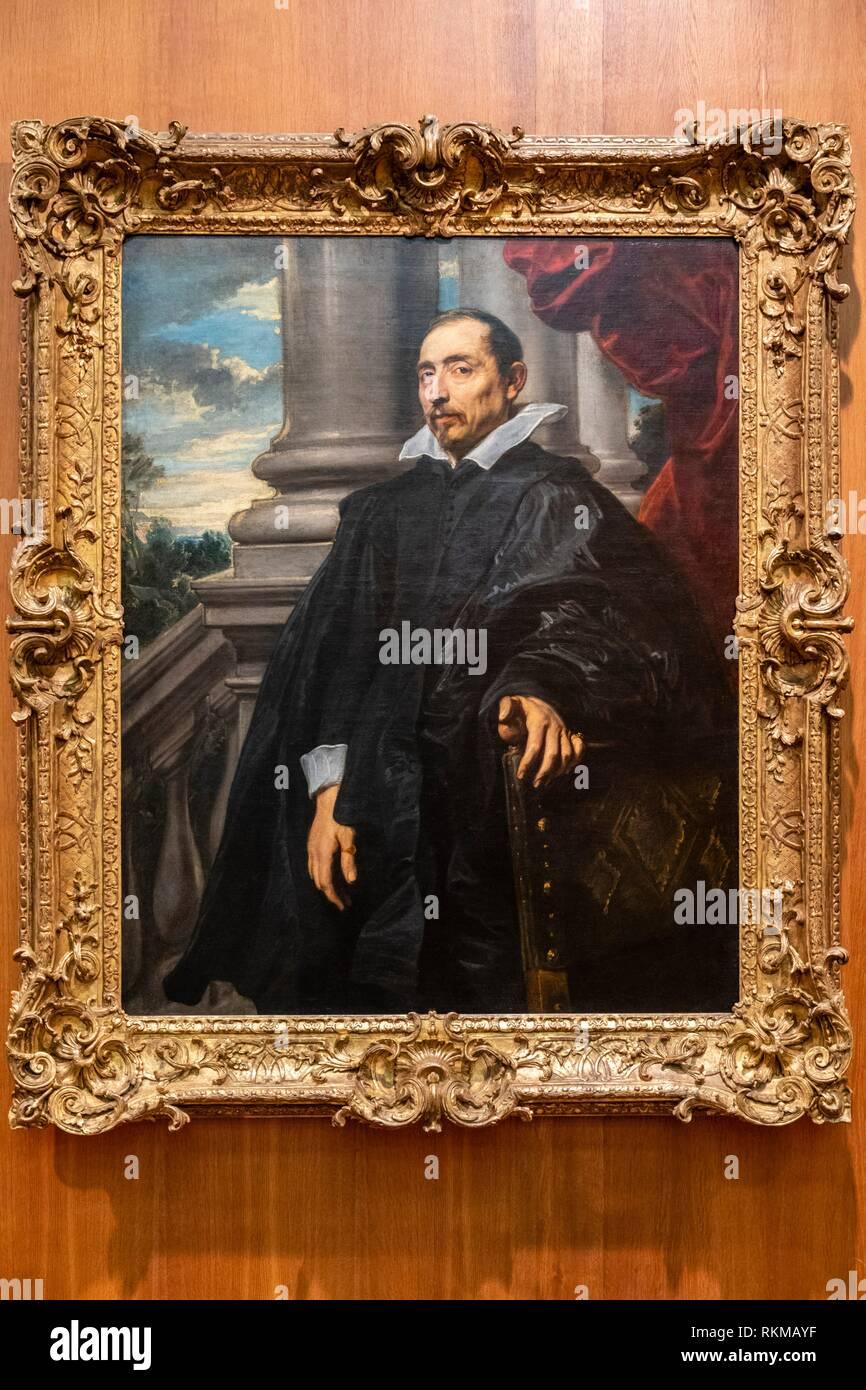 Portrait of Man, anton Van Dyck, Flanders, 1620-1621, Fundação Calouste Gulbenkian, Lisbon, Portugal. - Stock Image