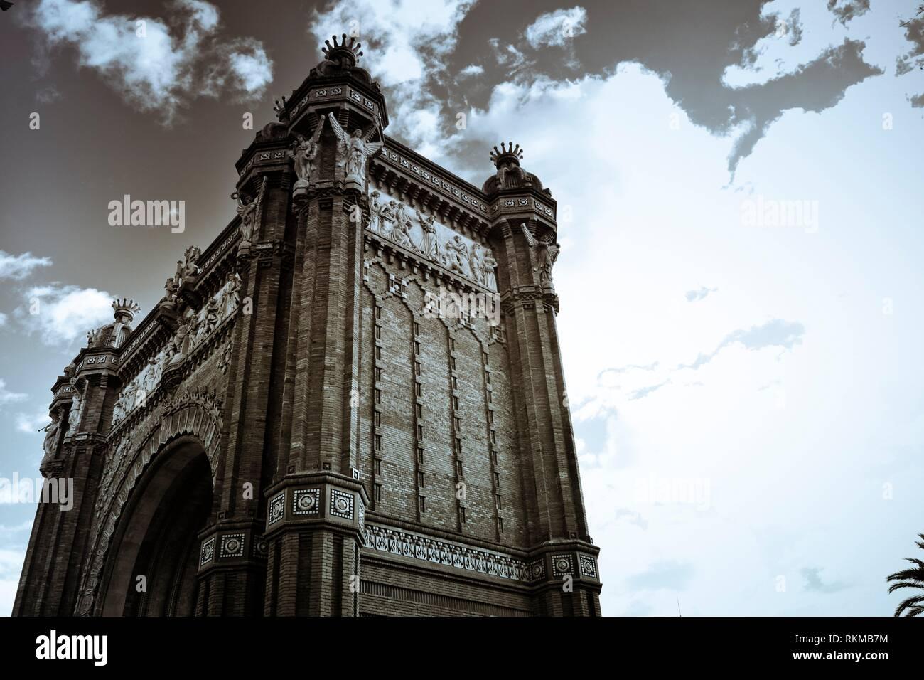 Arc de Triomf monument. Passeig Lluis Companys, Barcelona, Catalonia, Spain. - Stock Image