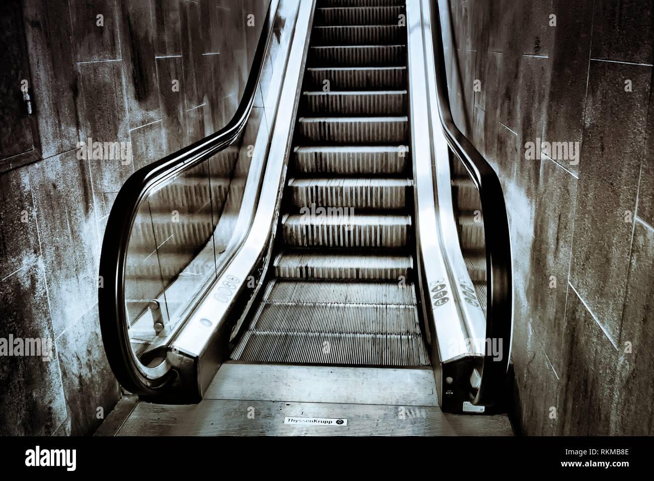 Escalator. Barcelona province, Catalonia, Spain. - Stock Image