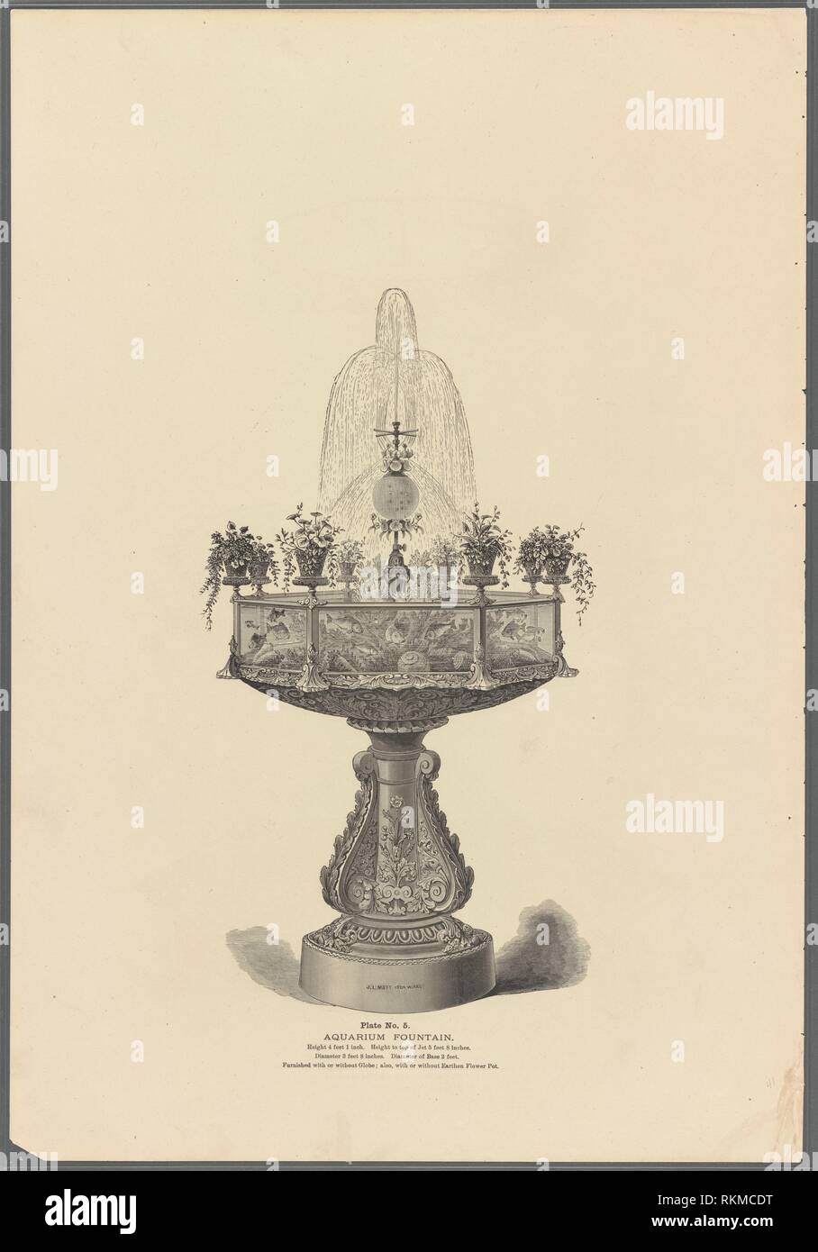 Aquarium fountain, No. 5 [section no. 1, p. 41]. J.L. Mott Iron Works (Manufacturer). Illustrated catalogue of statuary, fountains, vases, settees, - Stock Image