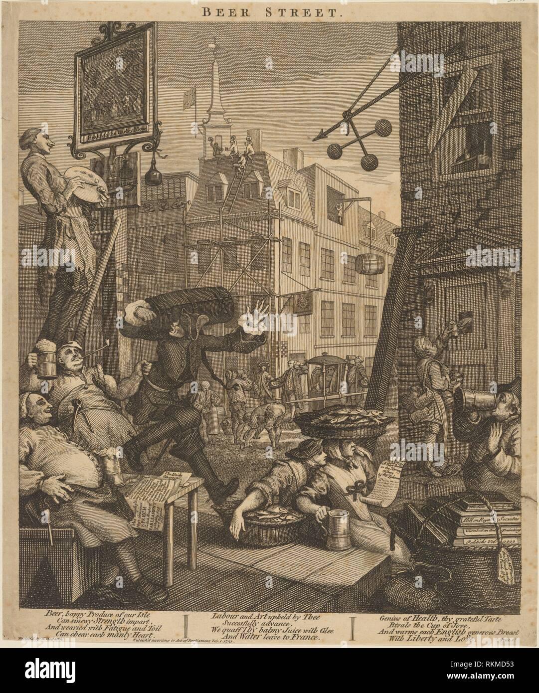 Beer Street. Hogarth, William, 1697-1764 (Printmaker). William Hogarth: prints. Date Created: 1751. Prints. Still image. - Stock Image