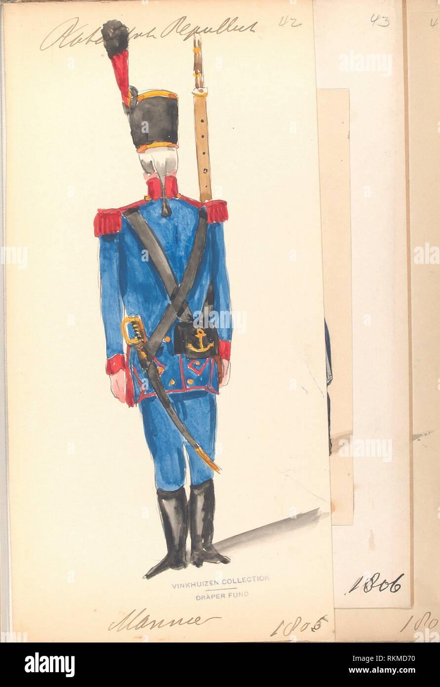 Bataafsche Republiek. Marinier. 1806. Vinkhuijzen, Hendrik Jacobus (Collector). The Vinkhuijzen collection of military uniforms Netherlands - Stock Image