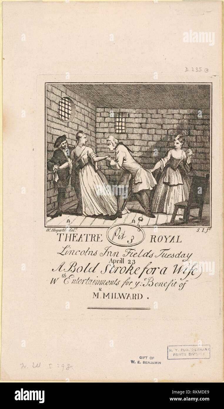Benefit ticket for Milward. Hogarth, William, 1697-1764 (Printmaker). William Hogarth: prints. Date Created: 1728. Prints. Still image. - Stock Image