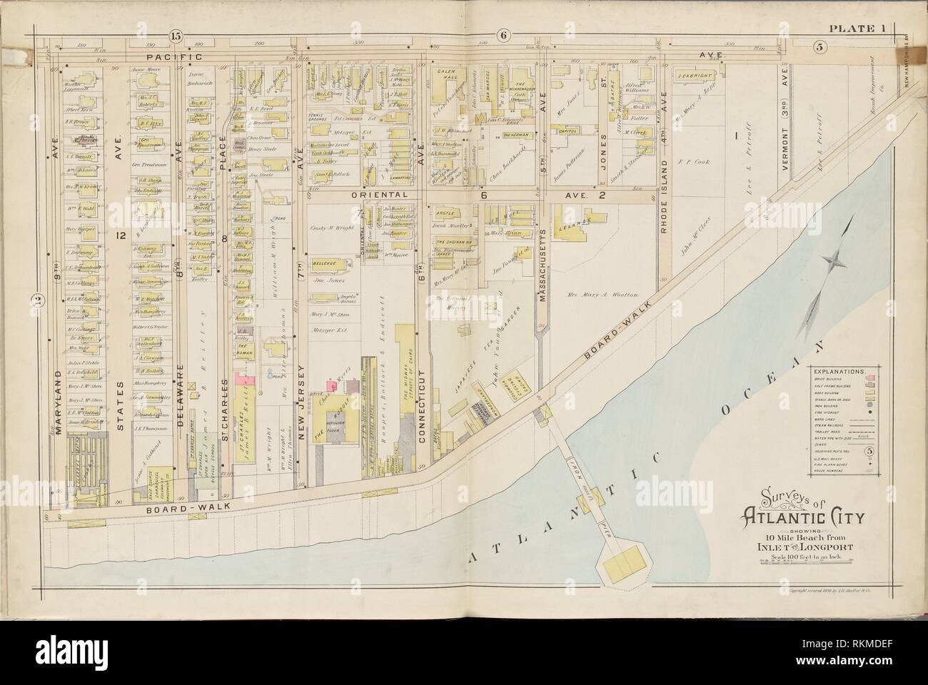 Atlantic City, Double Page Plate No. 1 [Map bounded by Pacific Ave ...