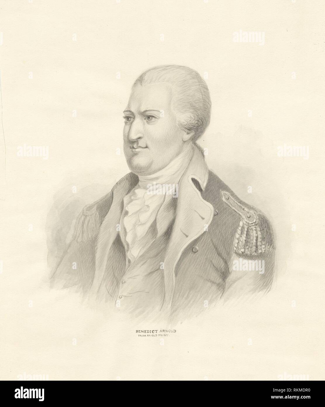 Benedict Arnold from an old print. Emmet Collection of Manuscripts Etc. Relating to American History. The generals of the American Revolution. Volume - Stock Image