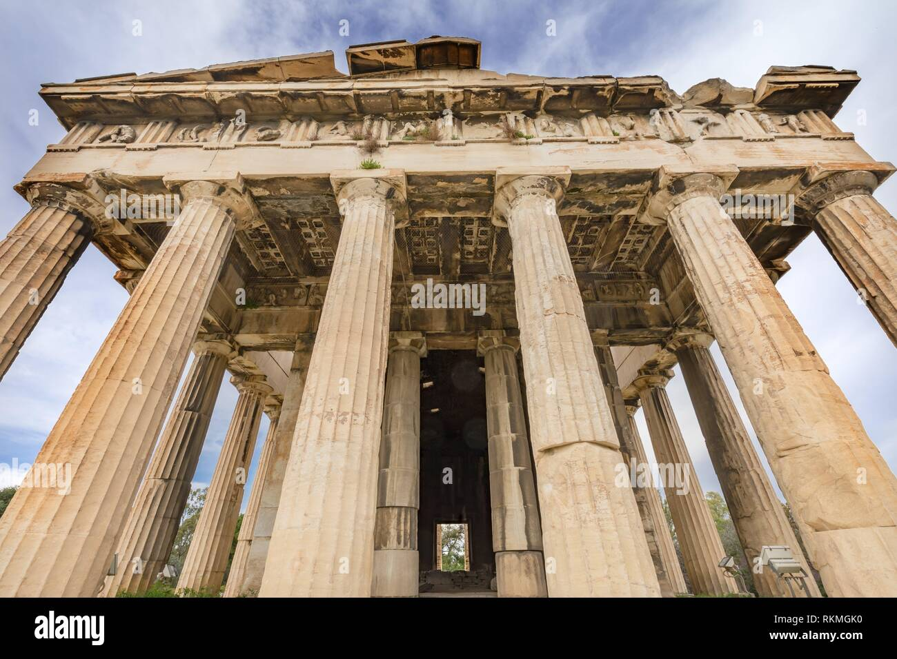 Ancient Temple of Hephaestus Columns Agora Market Place Athens Greece. Agora founded 6th Century BC. Temple for God of craftsmanship, metal working Stock Photo