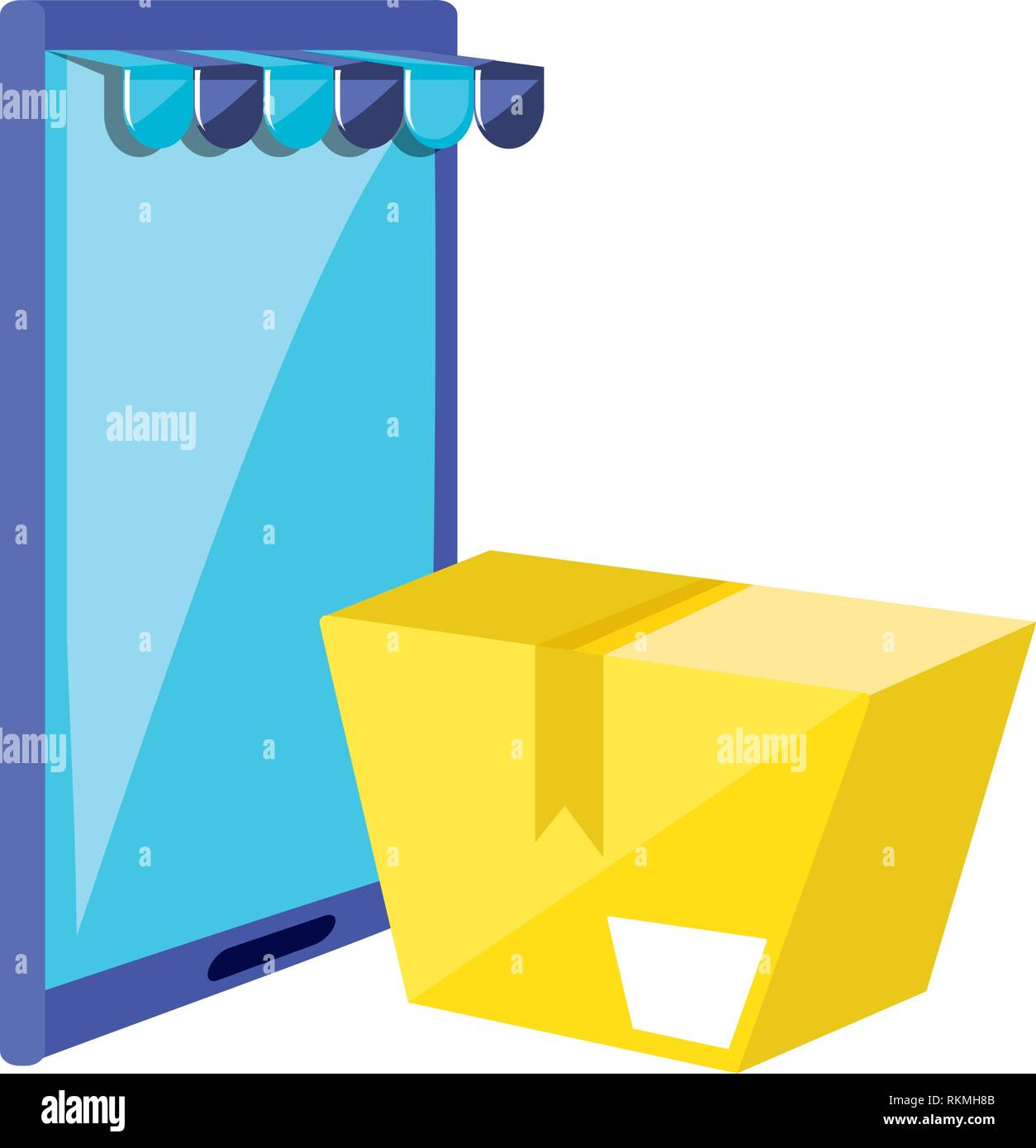 smartphone device with box and parasol store vector illustration