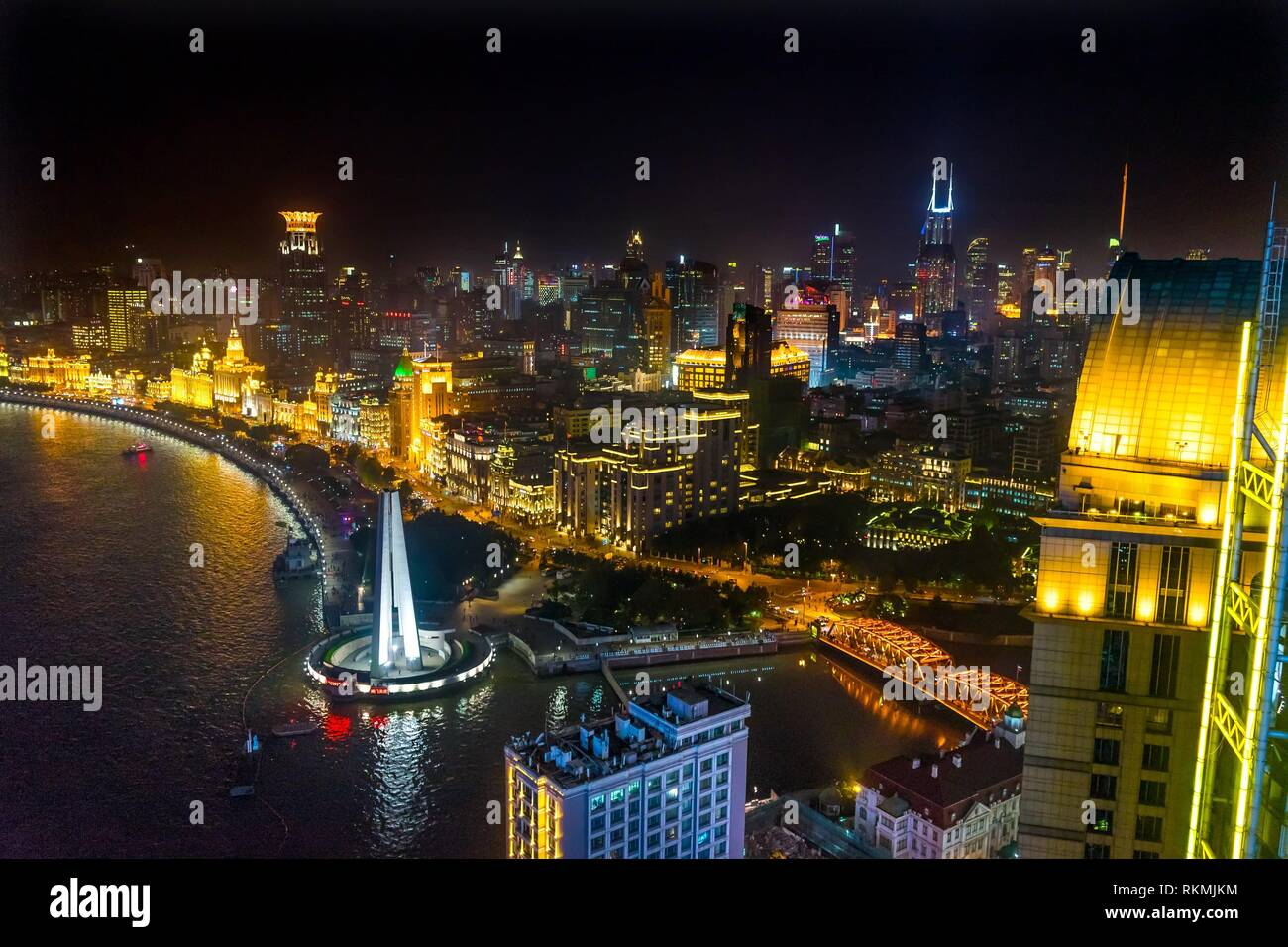 Waibaidu Bridge Monument to People's Heroes Bund Shanghai China Night Shot One of the most famous places in Shanghai and China. Stock Photo