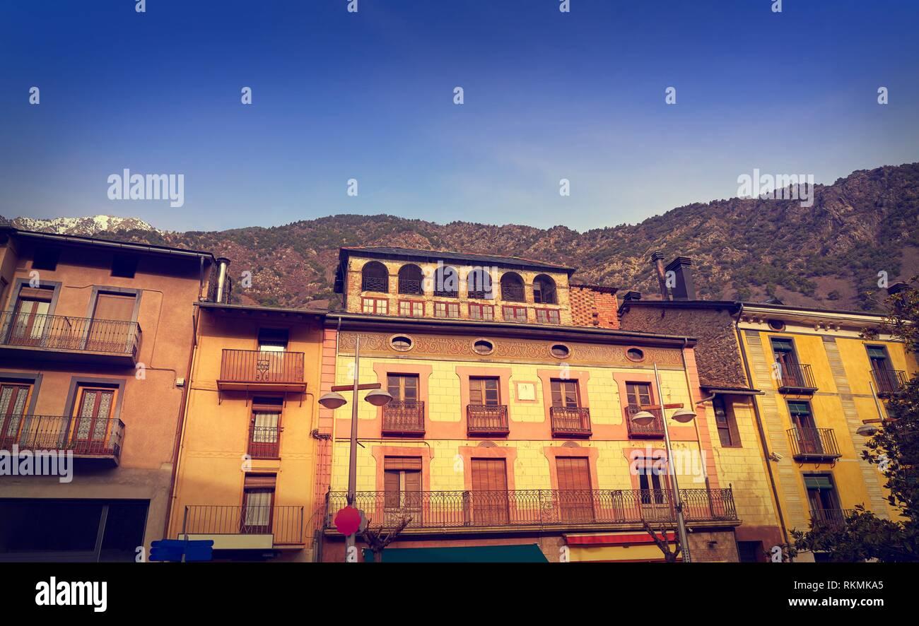 Andorra la Vella facades at Pyrenees. - Stock Image