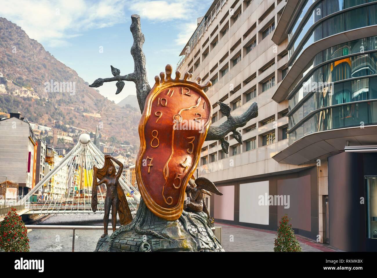 Andorra la Vella Salvador Dali Noblesse du Temps sculpture in Pyrenees. Stock Photo