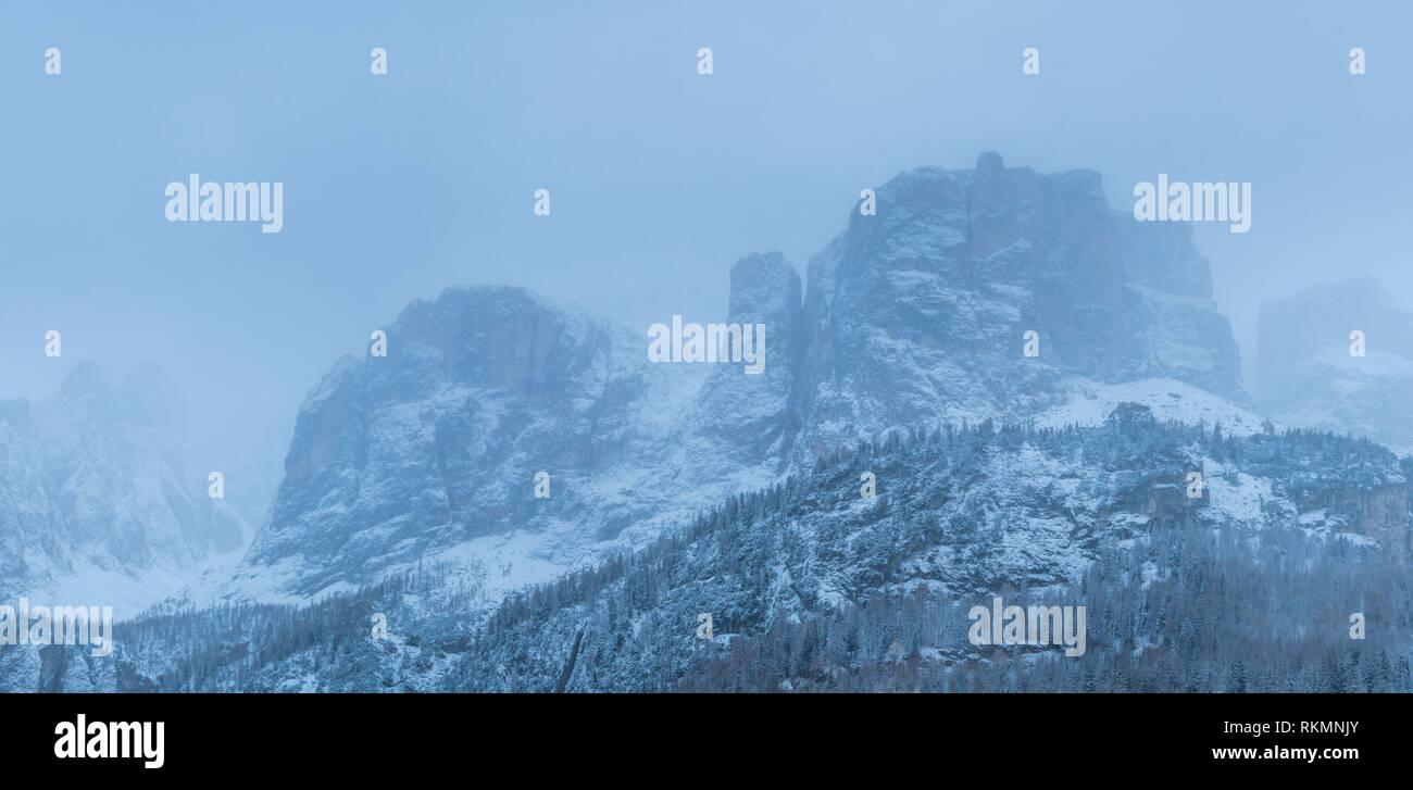 Brunecker Turm Mountain, Corvara in Badia, Bolzano Province, Dolomites, Italy, Europe. - Stock Image