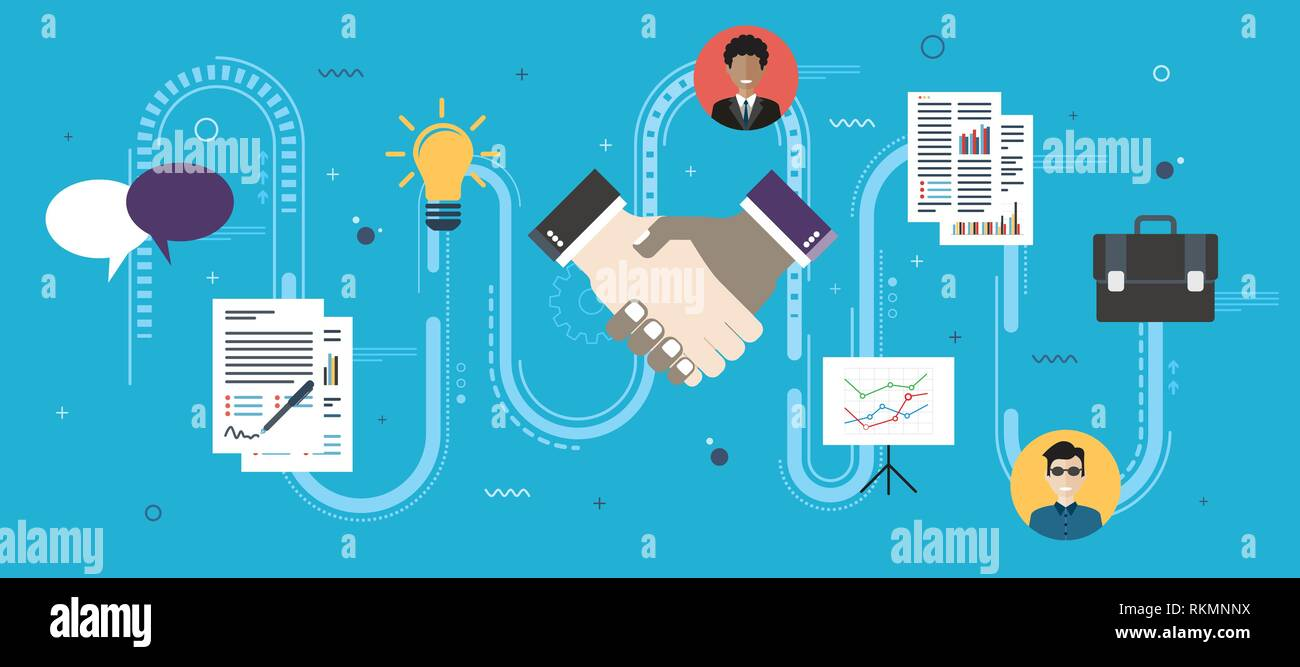 Cooperation strategy and handshake in contract agreement signature. Negotiation, teamwork and collaboration in business .Internet website banner conce - Stock Image