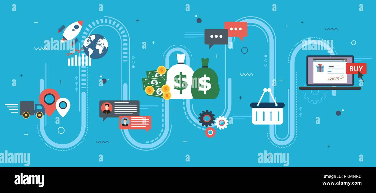 Global economy, business chart and trade success. Money and success in startup. Finance, business, startup and e-commerce icons, chart and data. Flat  - Stock Image