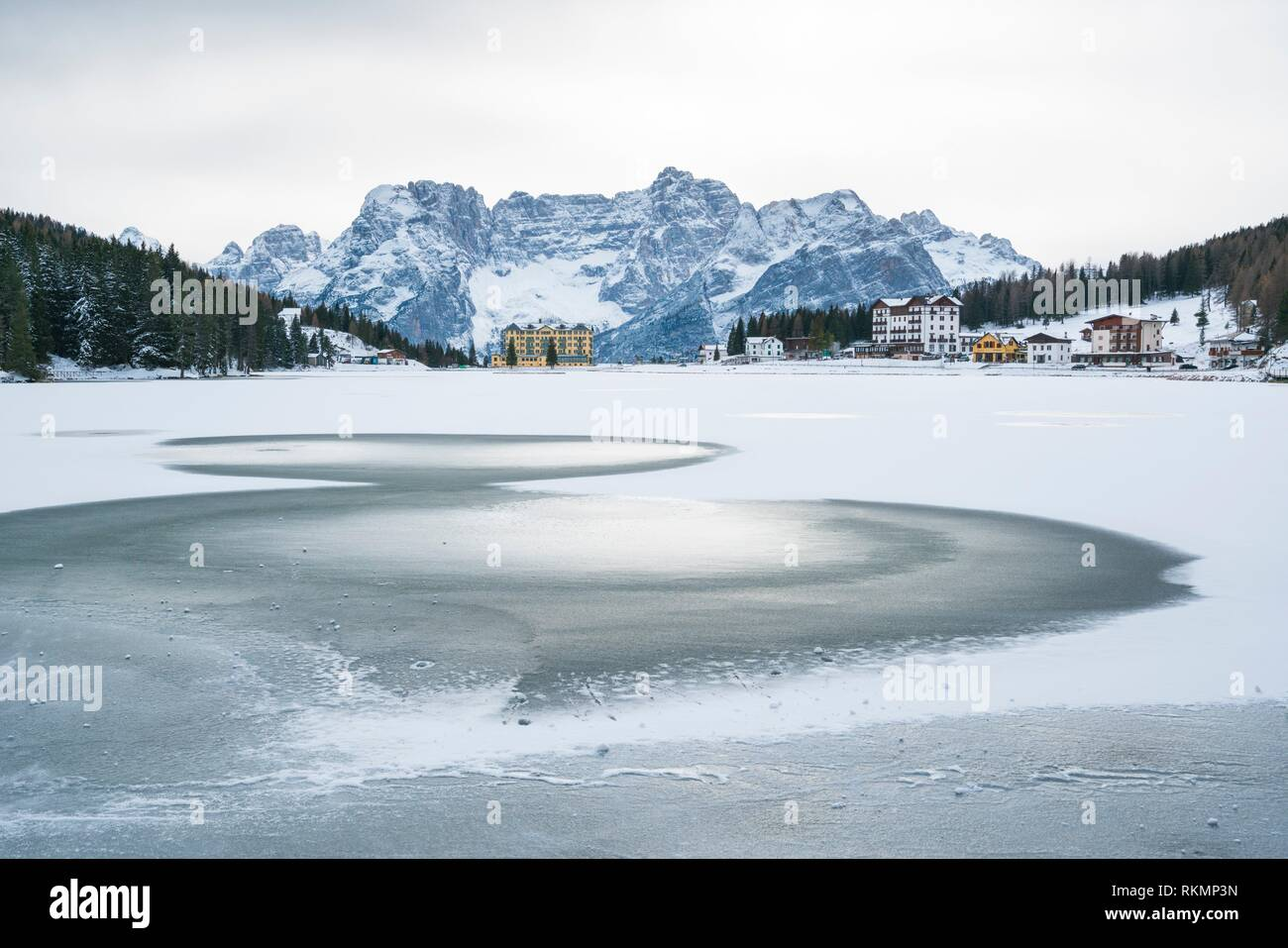 Lake Misurina, Belluno province, Dolomites, Unesco World Heritage Site, Italy, Europe. - Stock Image