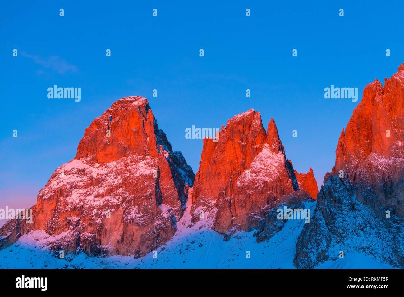 Sassolungo, Sella Pass, Dolomites, Unesco World Heritage Site, Italy, Europe. - Stock Image