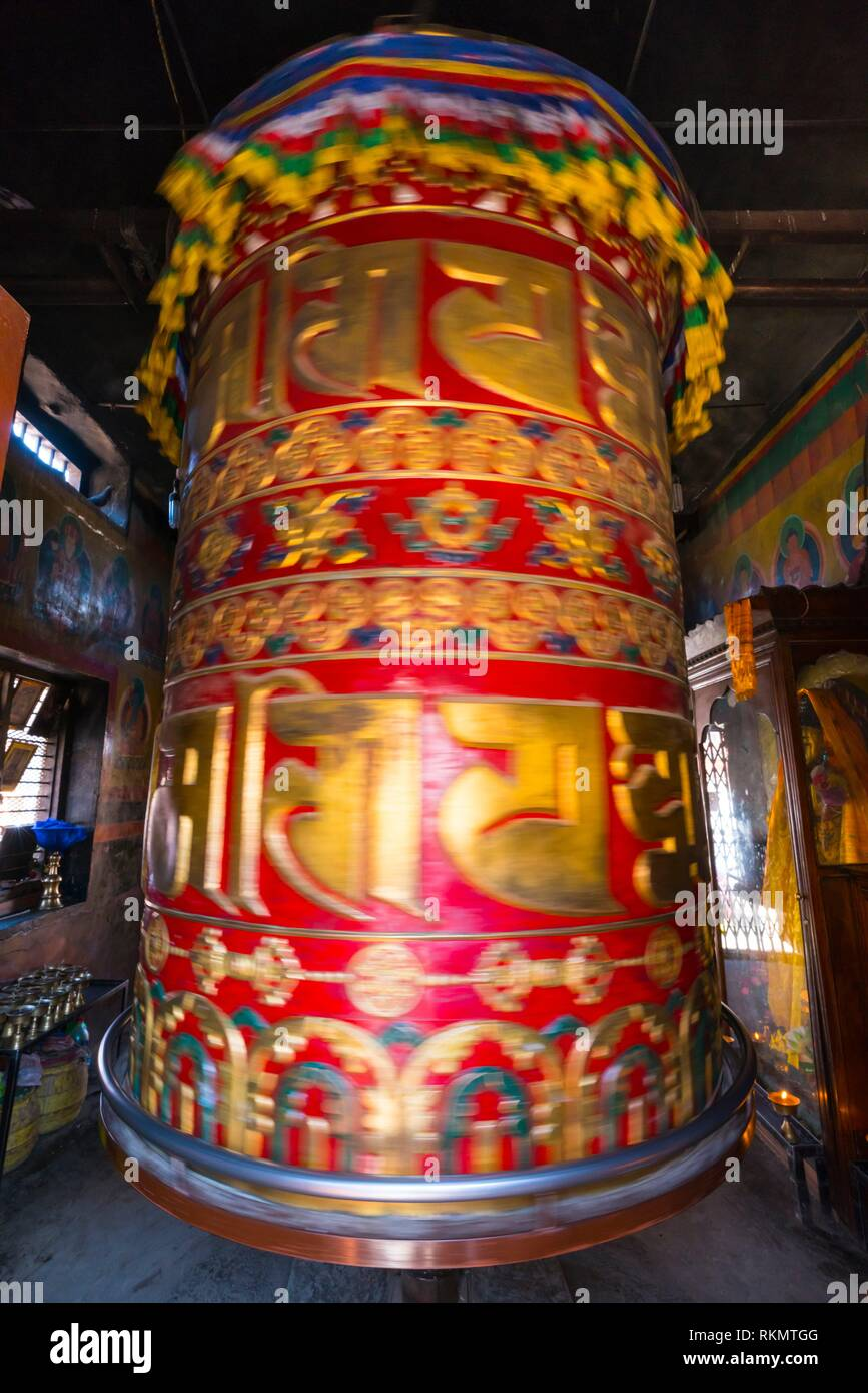 Prayer wheel, Boudhanath - Bauddhanath Stupa, Kathmandu Valley, Nepal, Asia, Unesco World Heritage Site. - Stock Image