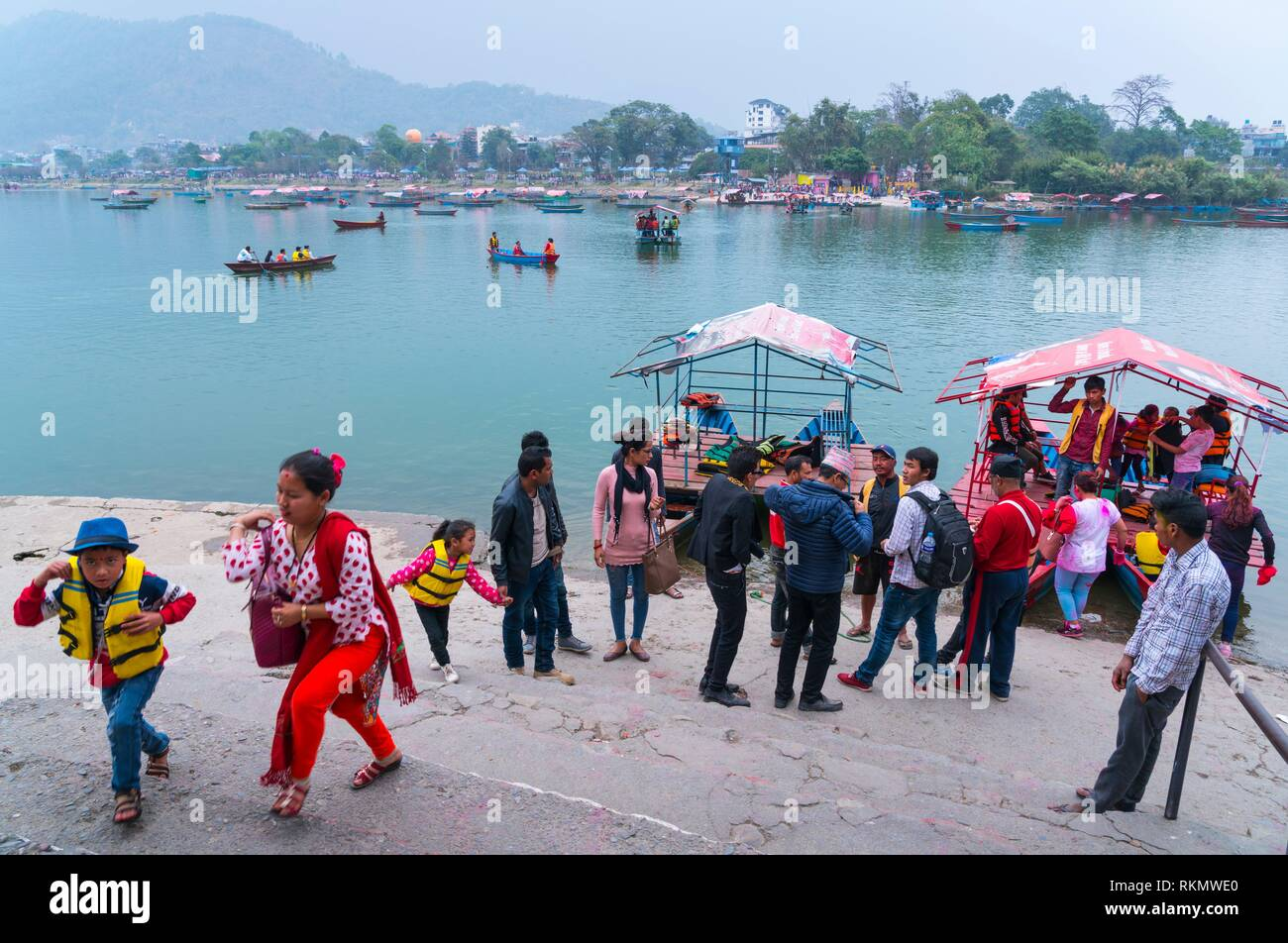 Recreation boats, Phewa Lake, Pokhara, Nepal, Asia. - Stock Image