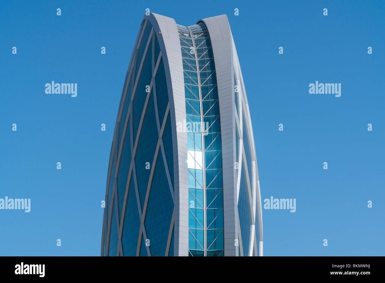 Aldar-HQ Round Skyscraper, Al Raha Beach, Abu Dhabi City, Emirate of Abu Dhabi, Persian Gulf, United Arab Emirates, UAE, The Middle East. - Stock Image