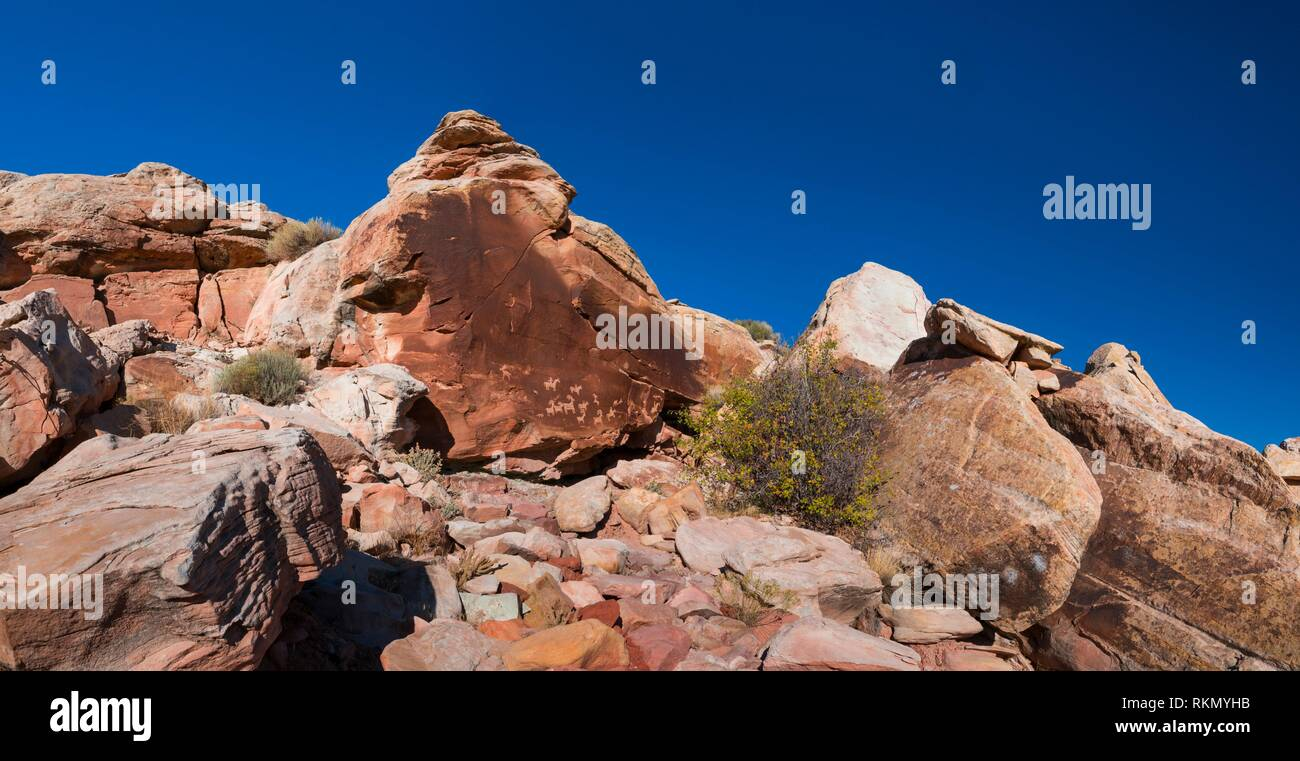 Petroglyphs, Wolfe Ranch Rock Art, Trail to Delicate Arch, Arches National Park, Colorado Plateau, Utah, Grand County, Usa, America. - Stock Image