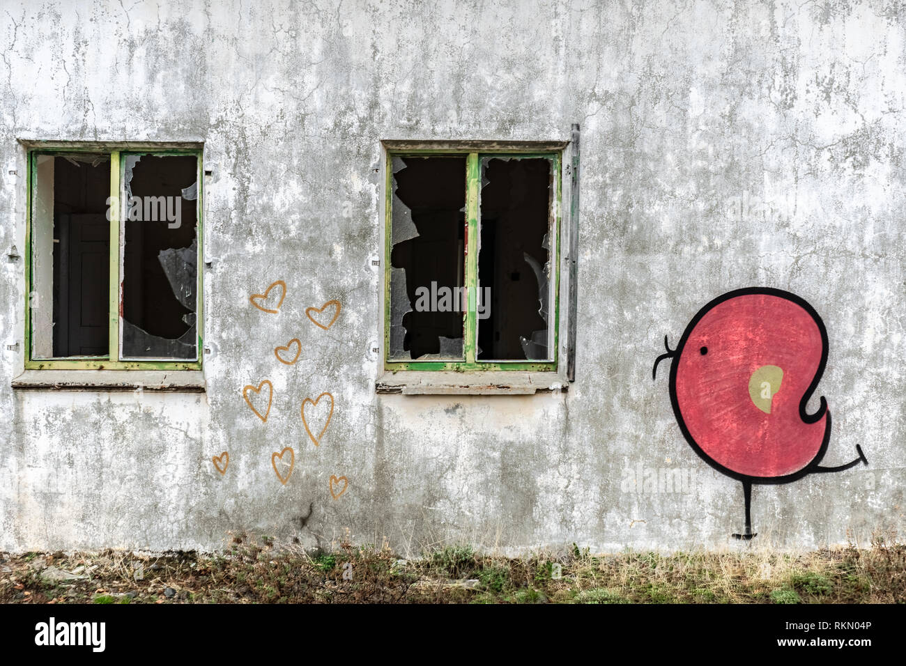 Amiantos, Cyprus - October 2019: Graffiti on the wall of Amiantos abandoned hospital on Cyprus. Abandoned spaces - Stock Image