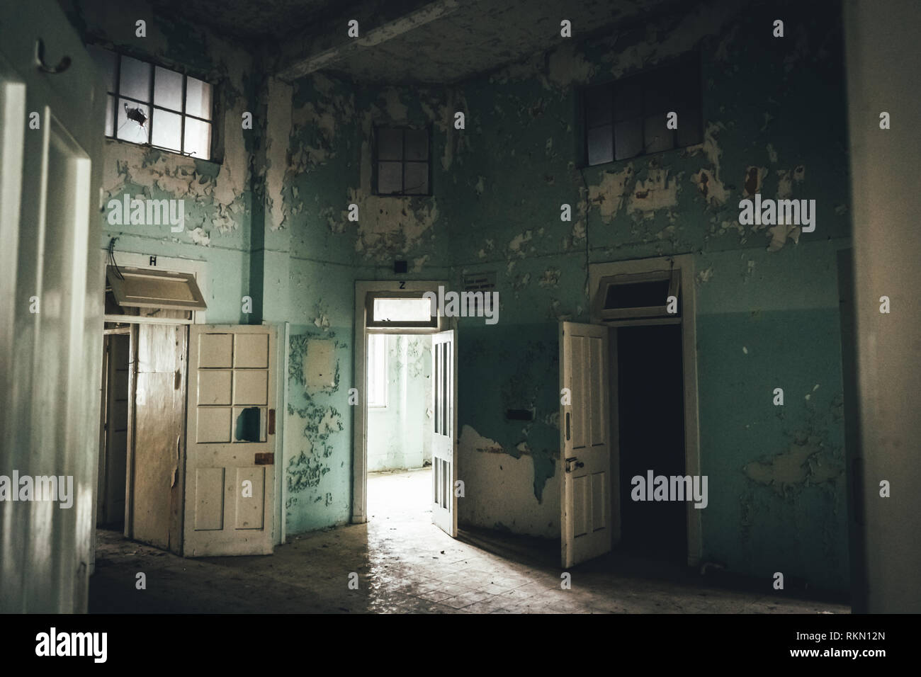Interior of Amiantos abandoned hospital on Cyprus. Abandoned spaces - Stock Image