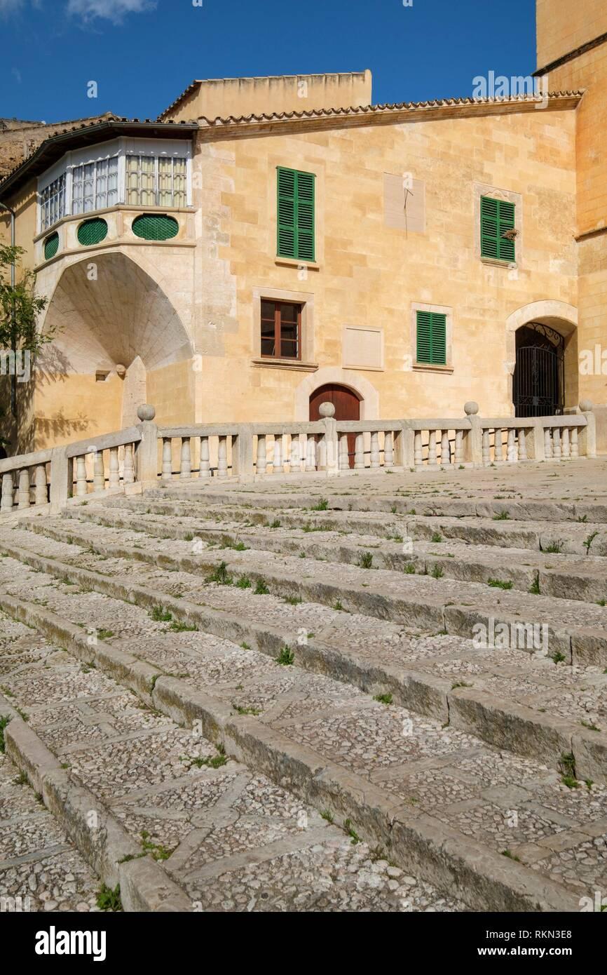 Iglesia de Santa María, , finales del siglo XIII, transición románico-gótica, Felanitx, Mallorca, balearic islands, Spain. - Stock Image