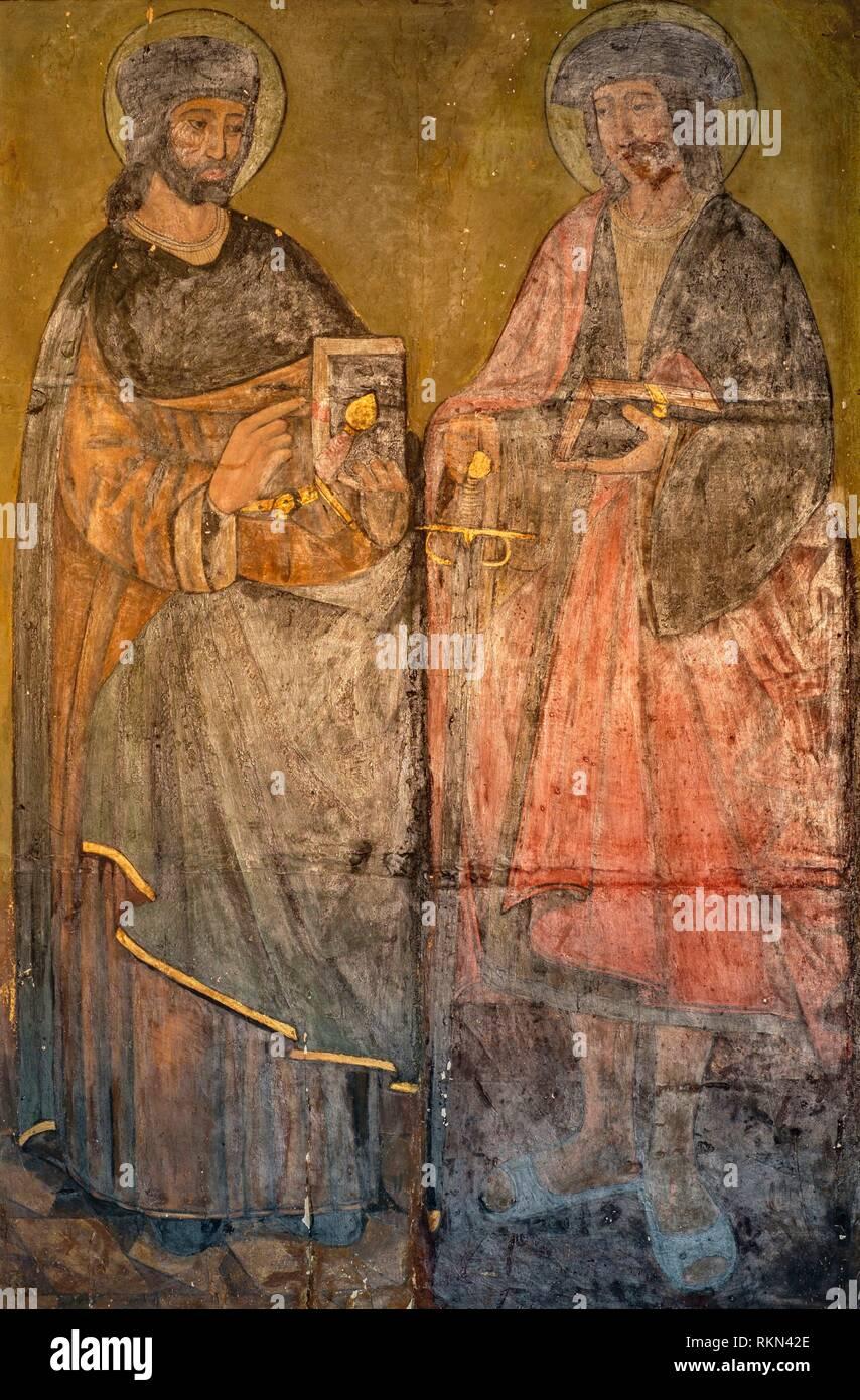 Tabla de San Abdón y San Senén, siglo XV, museo de la iglesia parroquial, Llucmajor, Mallorca, balearic islands, Spain. - Stock Image