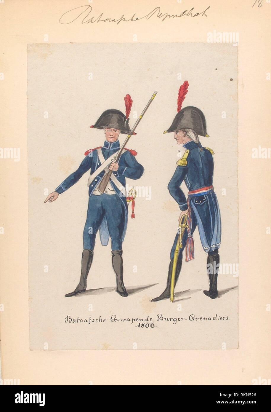 Bataafsche Republiek. Bataafsche Gewapende Burger-Grenadiers. Vinkhuijzen, Hendrik Jacobus (Collector). The Vinkhuijzen collection of military - Stock Image