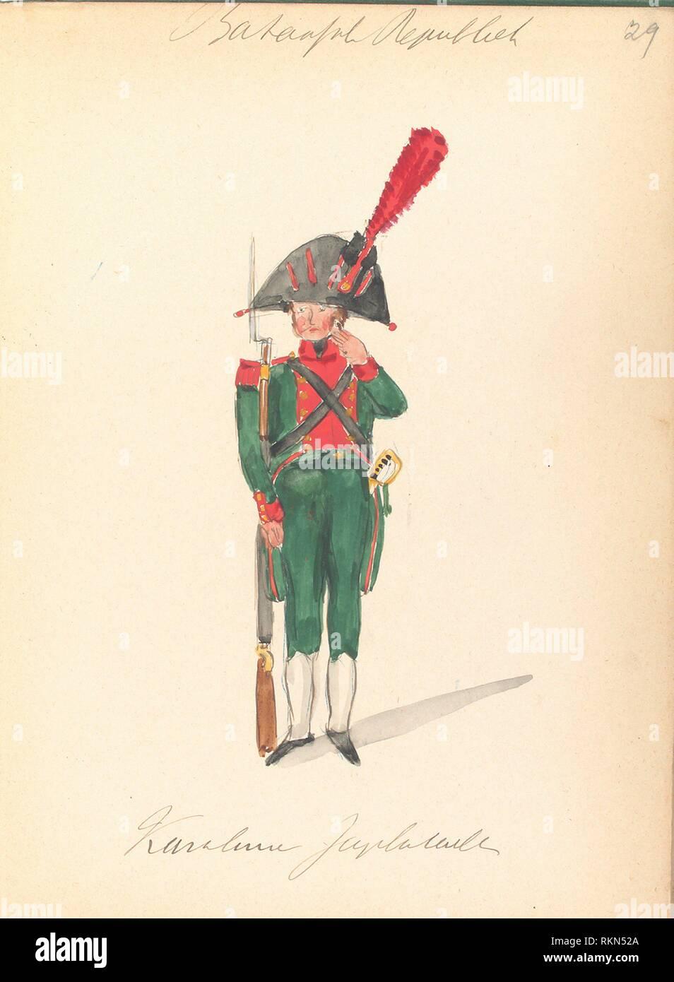 Bataafsche Republiek. Karabinier. 1805. Vinkhuijzen, Hendrik Jacobus (Collector). The Vinkhuijzen collection of military uniforms Netherlands - Stock Image