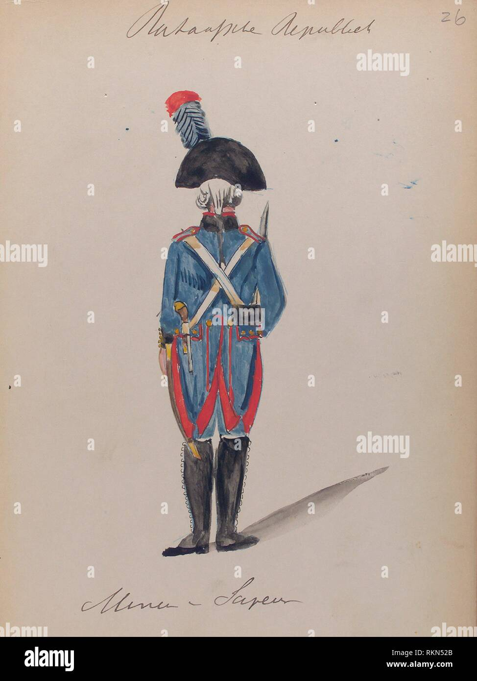 Bataafsche Republiek. Mineur Sapeur. Vinkhuijzen, Hendrik Jacobus (Collector). The Vinkhuijzen collection of military uniforms Netherlands - Stock Image