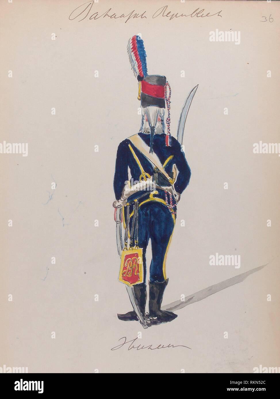 Bataafsche Republiek. Huzaar. Vinkhuijzen, Hendrik Jacobus (Collector). The Vinkhuijzen collection of military uniforms Netherlands Netherlands, - Stock Image
