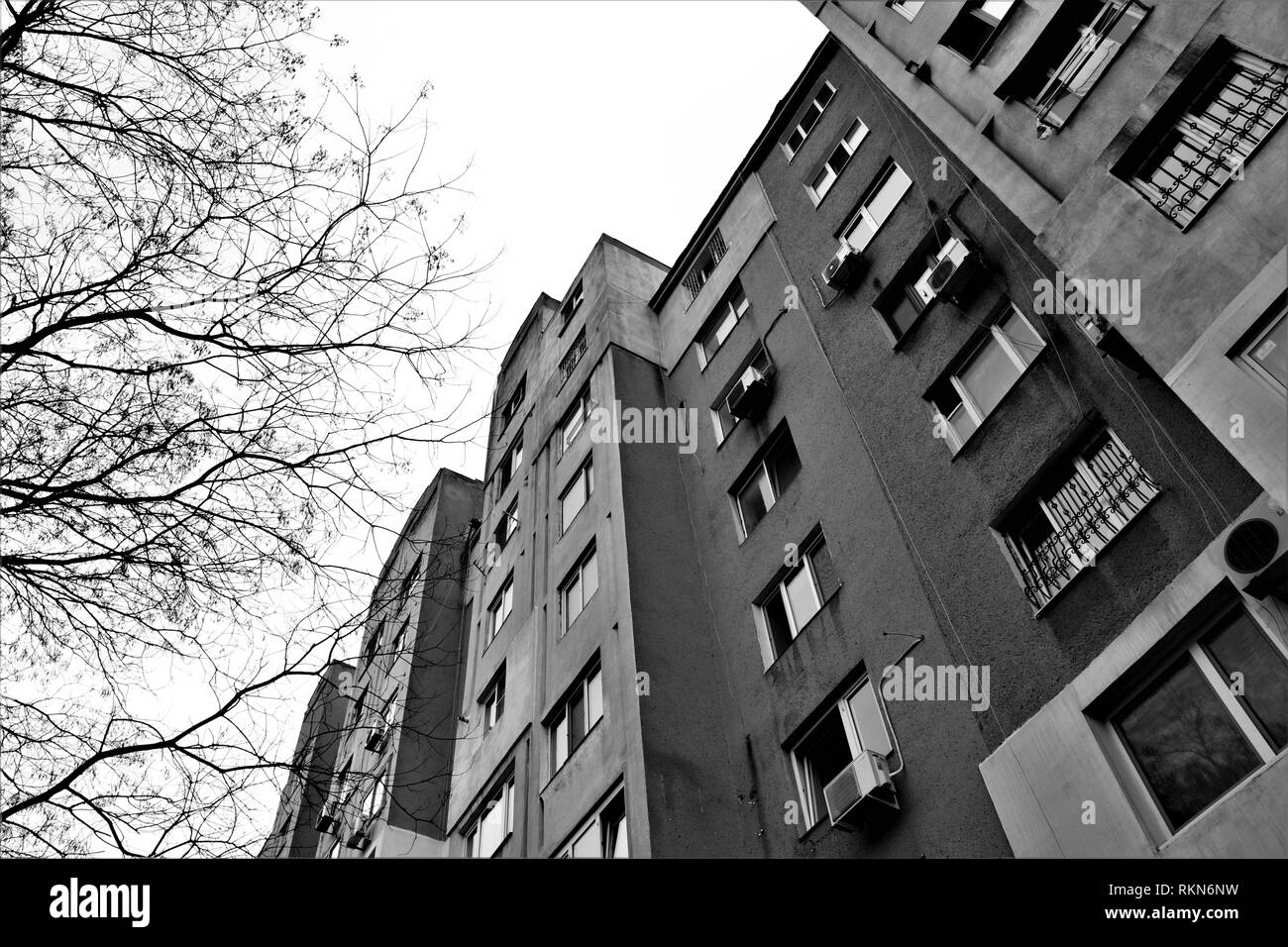 Public housing in a soviet periphery. - Stock Image