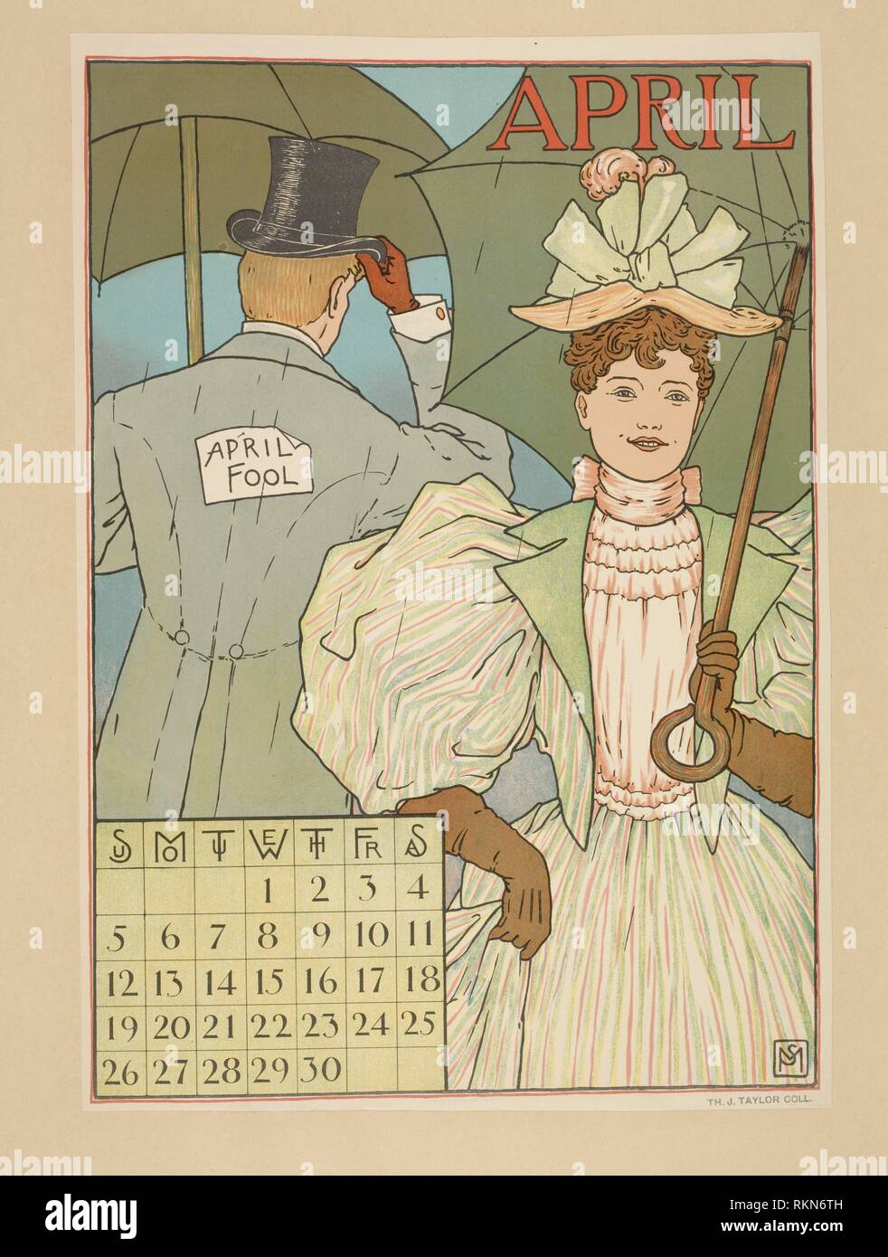 April. Posters: exhibition, exposition, calendar. Date Issued: 1887 - 1922 (Inferred). Posters, American. Posters Calendars. Mounted on card stock. Stock Photo