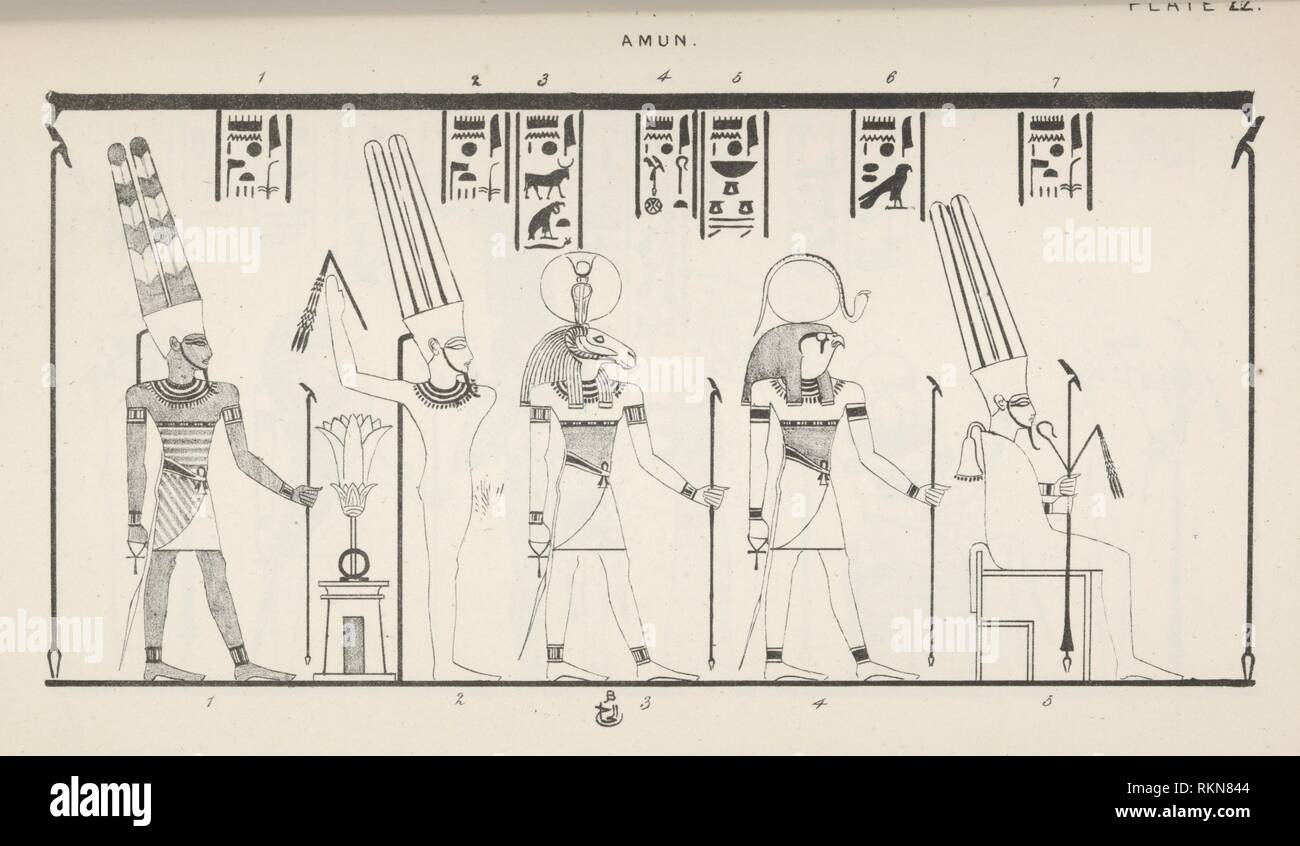 Amun. Additional title: Amun-Re. Wilkinson, John Gardner, Sir, 1797-1875 (Author). Manners and customs of the ancient Egyptians, including their - Stock Image