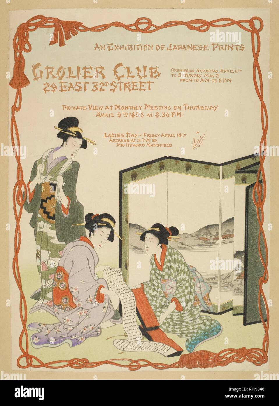 An exhibition of Japanese prints. Posters: exhibition, exposition, calendar. Date Issued: 1896. Posters, American. Posters. Mounted on card stock. Stock Photo