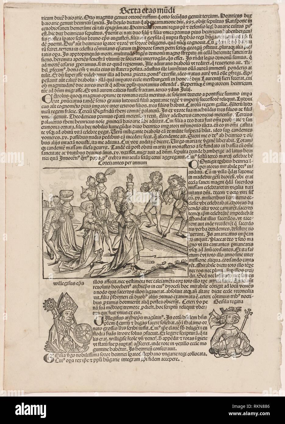 [Basse danse]. Schedel, Hartmann, 1440-1514 (Writer of accompanying material) Pleydenwurff, Wilhelm, d. 1494 (Illustrator) Wolgemut, Michael, - Stock Image